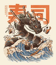 Great Sushi Dragon Duvet Cover by Ilustrata - Twin XL: x Arte Do Sushi, L'art Du Sushi, Sushi Art, Art And Illustration, Japanese Illustration, Arte Copic, Vexx Art, Framed Art Prints, Canvas Prints