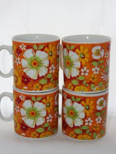 Set of Four Orange 1970's Royal Crown Floral Montage Mugs -- By Kitty 3623 -- Coffee Cups / Mugs -- Flowers Daisies Retro