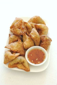 Fried Shrimp and Pork Dumplings with a Sweet and Sour Dipping Sauce / Bev Cooks