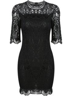 Black Half Sleeve Slim Lace Bodycon Dress