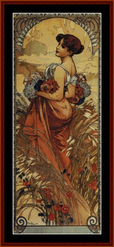 Summer 1903 - Mucha - Cross Stitch Collectibles fine art counted cross stitch pattern