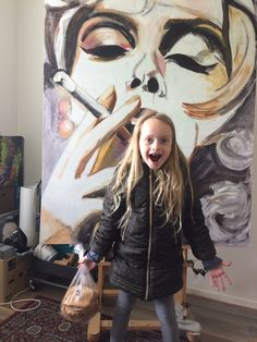 "The making of ""de sigaret"". Lauren is er heel enthousiast over. Jan Thie, 160x120 cm, acryl, 2019"