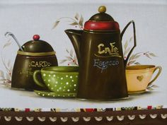 by Sandra S. Food Painting, Coffee Painting, Fabric Painting, Painting On Wood, Coffee Art, Coffee Shop, Decorative Painting Projects, Cupcake Pictures, Tea Cafe
