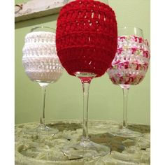 Wine Glass Covers Beach Wedding Bachelorette Vintner Wine Tasting Tour... ($6) ❤ liked on Polyvore featuring home, home decor, holiday decorations, holiday home decor, christmas holiday decorations, holiday decor, crochet home decor and christmas holiday decor