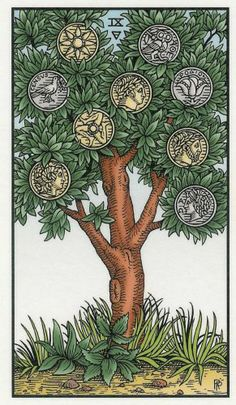 Nine of Coins - Alchemical Renewed Tarot by Robert M. Place, Leisa ReFalo