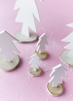 Get crafty this holiday season with this easy diy white foam christmas tree project! Little Christmas, Christmas Home, Christmas Trees, Christmas Crafts, Xmas, Foam Crafts, Arts And Crafts, Bottle Brush Trees, Easy Diy