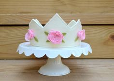 Felt Crown in ivory with pink roses princess di pixieandpenelope