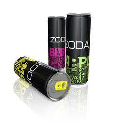 """Silky Szeto, a graphic design from Santa Barbara created this cool packaging for ZODA, energy drink. We love the dynamic of the type and the color contrast with the black gives out a feel of  a burst of energy. """"It is a modern and eye catching design that uses typography inspiration.  The obscurity of the typographic design attracts maximum attention and it communicates the product's functional nature and effects."""""""