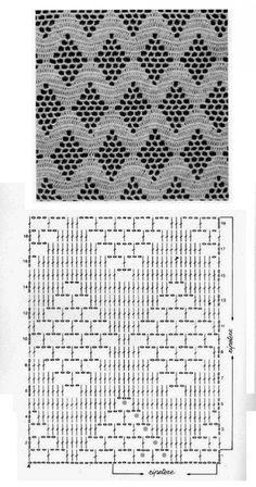 Define and symbols for crochet an openwork sample. by sara Crochet Scraf Looks like flower in a trellis. Crochet Motifs, Crochet Diagram, Crochet Stitches Patterns, Crochet Chart, Thread Crochet, Crochet Designs, Knitting Stitches, Crochet Doilies, Crochet Lace