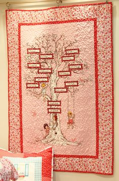 Finished family tree in sarah jane studios fabric. love love love