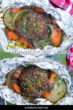 Hamburger Hobo Dinners cooked in foil packs are downright delicious! Whether you're cooking this meat and potato dish on the grill, a campfire, or the oven, these flavorful packages are sure to be hit with your family and friends. Vegetarian Grilling, Grilling Recipes, Beef Recipes, Easy Recipes, Easy Campfire Meals, Campfire Food, Easy Meal Plans, Quick Easy Meals, Tasty Dishes