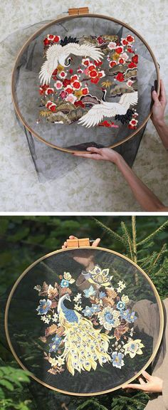 Tulle embroidery by Krista Decor // bird embroidery // floral embroidery // hoop… Tulle embroidery by Krista Decor // bird embroidery // floral embroidery // hoop art Embroidery Hoop Crafts, Hand Embroidery Stitches, Silk Ribbon Embroidery, Embroidery Fashion, Embroidery Hoop Art, Hand Embroidery Designs, Embroidery Techniques, Cross Stitch Embroidery, Floral Embroidery
