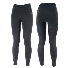 Sporty silicone print tights are ideal for casual rides and optimal comfort. Pull on these sporty stretchy riding tights for the perfect casual riding wear. These tights are designed without a seam at the crotch area for ultimate comfort in the saddle. A silicone grip is added to the seat and inner