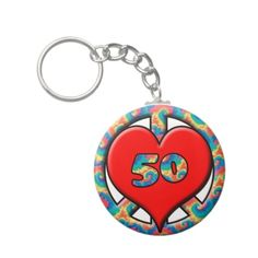 Peace, Heart, 50 Birthday Key Chains