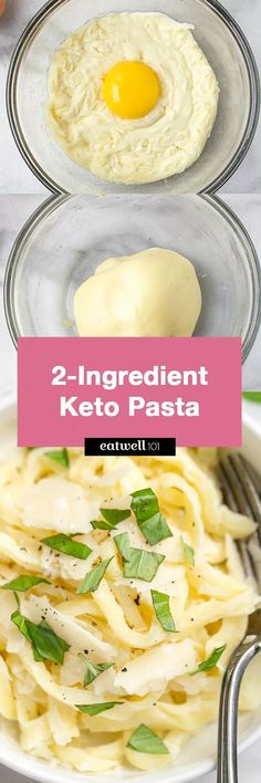 Keto Low Carb Pasta Noodles – 2 Ingredient Keto Low Carb Pasta Noodles – Chewy and delicious – the perfect low carb basis for all of your favorite pasta sauces and flavors! Healthy Recipes, Ketogenic Recipes, Low Carb Recipes, Diet Recipes, Cooking Recipes, Recipies, Ketogenic Diet, Pescatarian Recipes, Diet Meals