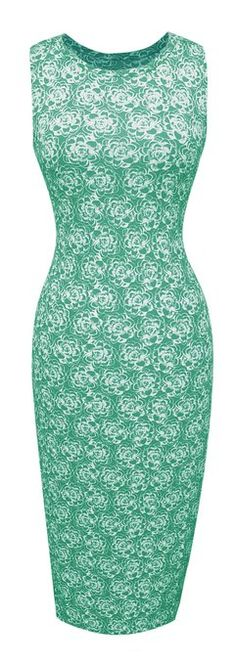 Peach Couture Floral Retro Print Evening Pencil Dress/Sleeveless Tank Bodycon (Large, Mint). $20+ shipping.