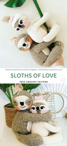 Sloths Of Love Crochet Pattern - Amigurumi Love Crochet, Crochet Gifts, Crochet Toys, Crochet Baby, Easy Crochet Animals, Crochet Flowers, Minion Crochet Patterns, Minion Pattern, Softies