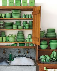 Elegant, green dinnerware