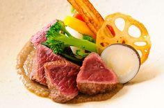 ぐるなび - GINZA ORIKASA Tenderloin Steak, Food Plating, Cooking Time, Tuna, Food Styling, Carne, Beef, Fish, Meals