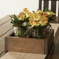 Wooden Square Centerpiece Box/Table Caddy | Jane
