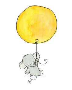 Nursery Art Elephant Balloon Art Print by trafalgarssquare