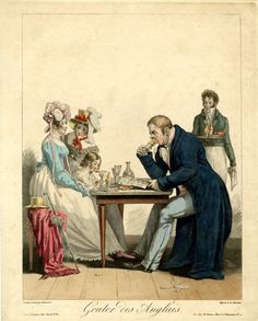The English eating ice cream in an inelegant fashion - exactly as we eat it now! Debucourt, Gouter des Anglais, ca.1815 This is fun!