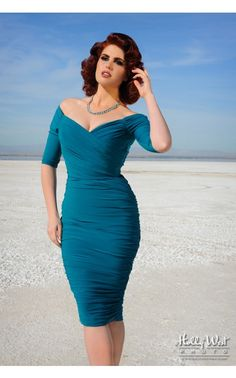 Laura Byrnes- Monica Dress in Teal | Pinup Girl Clothing--I have this in gold and I love it--would love to get this color, too.  (Also I happened to be wearing it when I met Doris Mayday--the model here--at a wedding and she kindly complimented me on it!)