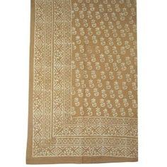 Drap Plat de Lit en Coton Imprimée au Tampon Grand Lit 223 x 147 Cm: Amazon.fr: Cuisine & Maison