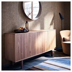 IKEA - STOCKHOLM, Sideboard, walnut veneer, The sideboard in walnut veneer and solid ash brings a warm, natural feeling to your room. The distinctive grain pattern in the walnut veneer gives each piece of furniture a unique character. Walnut Sideboard, Sideboard Buffet, Kitchen Sideboard, Ikea Stockholm Sideboard, Stockholm Mirror Ikea, Buffet Ikea, Buffet Tables, Small Shelves, Home Furniture