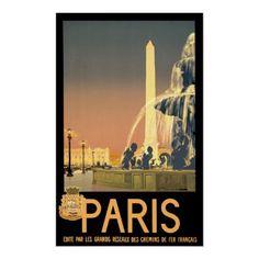Paris France ~ Vintage French Travel Poster