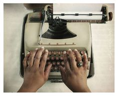 The Letter  - Vintage Typewriter on Table - Hands Typing