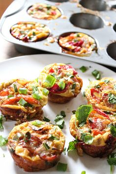 Paleo breakfast: Mini veggie and bacon fritatas... if making vegetarian, just omit the bacon.