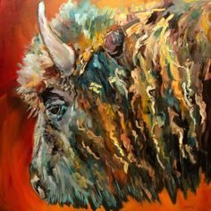 BISON WILD LIFE ANIMAL ART DIANE WHITEHEAD Artoutwest Daily Painting, painting by artist Diane Whitehead