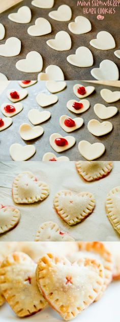 """Mini heart cookies"" by Laura Garcia Moreno on The Dessert Lover; ""I've used strawberry jam to fill the heart cookies, you can use any other fruit jam you like. Mini Desserts, No Bake Desserts, Just Desserts, Delicious Desserts, Dessert Recipes, Yummy Food, Brownie Desserts, Spring Desserts, Easter Desserts"