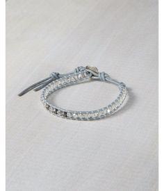 Chan Luu Mixed Bead Gray Single Wrap Bracelet Women's Silver