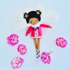 Cloud Girl -- Unique One-Of-A-Kind Ethereal Doll -- Can Hang on the Wall as Decor by PinkCheeksStudios on Etsy Bouncy Ball, Pink Cheeks, Smile Face, Ethereal, Wool Felt, Minnie Mouse, Dolls, Disney Characters, Handmade Gifts