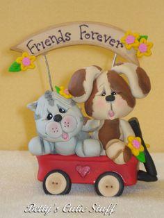 Kitty & Puppy Friends  Polymer Clay Figurine by bettyscutiestuff, $12.00
