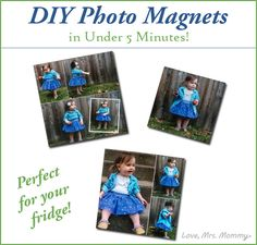 Mommy: DIY Photo Magnets in Under 5 Minutes! Crafts To Do, Diy Craft Projects, Crafts For Kids, Projects To Try, Arts And Crafts, Craft Ideas, Baby Sleep Site, Supermom, Awesome Gifts