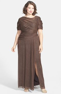 Alex Evenings Glitter Mesh Short Sleeve Gown (Plus Size) available at #Nordstrom