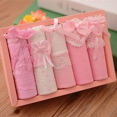 5 Pcs Women's Briefs Panties Gift Box Combination Cotton Underwear Bowknot Lady's Lovely Underwear Panty