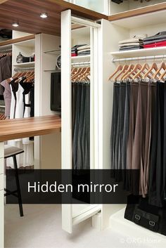 Love this feature. A slide out mirror in a custom laminate closet organizer system. Click through to learn the difference between wire and laminate for a closet system. Closet Mirror, Master Closet, Bedroom Storage, Bedroom Decor, Kids Bedroom, Master Bedroom, Walk Through Closet, Closet Remodel, Remodel Bathroom