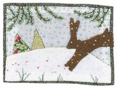 Sharon Blackman leaping rabbit and winter trees Christmas Applique, Christmas Sewing, Felt Christmas, Handmade Christmas, Freehand Machine Embroidery, Free Motion Embroidery, Free Machine Embroidery, Hand Applique, Applique Patterns