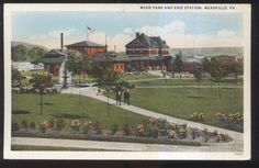 1920s Postcard Meadville PA Mead Park Erie Railroad Depot Train Station | eBay
