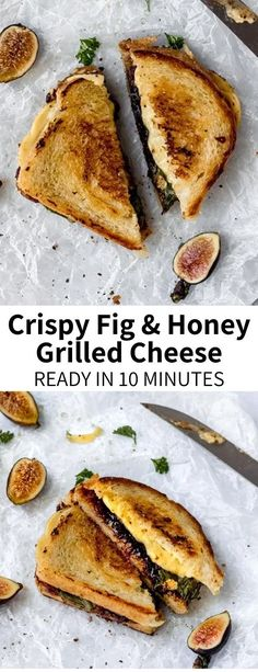 This Fig Jam Grilled Cheese with Honey is a grown-up spin on a classic childhood favorite! This sandwich with crispy sourdough bread lined with sweet fig jam, sticky honey (or agave), and melty vegan cheese will be your new favorite lunch! #grilledcheese #figs #figjam #figrecipe #crispy #honey #grilledcheesewithhoney #grilledcheesesandwich #summer #kidfoods Fig Recipes, Vegetarian Recipes, Dinner Recipes, Cooking Recipes, Waffle Recipes, Beef Recipes, Fig Jam, Vegan Cheese, Vegan Dinners
