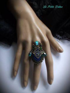 Bague baroque,Bleu et vert,bague victorienne,Gothique,Féerique,Renaissance,Fantaisie,Vintage,Bohème,Art nouveau,Baroque ring,Victorian ring de la boutique LaPetiteDidine sur Etsy