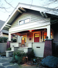 Hallmarks of the Bungalow style include tapered brick piers, a deep front gable, and a welcoming porch. Craftsman Trim, Craftsman Exterior, Craftsman Style Homes, Bungalow Renovation, Bungalow Exterior, Craftsman Bungalows, Bungalow Style House, Bungalow Homes, Tampa Florida