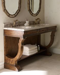Ambella – Open Double-Sink Vanity & Faucet – traditional – bathroom vanities and sink consoles – Horchow Ambella – Open Double-Sink Vanity & Faucet – traditional – bathroom vanities and sink consoles – Horchow Ada Bathroom, Handicap Bathroom, Rustic Bathroom Vanities, Rustic Bathrooms, Bathroom Storage, Master Bathroom, Bathroom Cabinets, Bathroom Ideas, Bathroom Showers