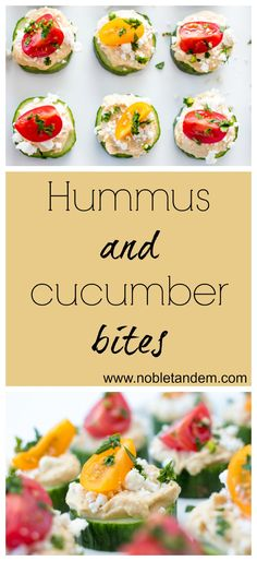 Hummus and cucumber bites, an easy recipe, perfect as an appetizer of as a light lunch http://www.nobletandem.com/recipe/cucumber-houmous-bites/