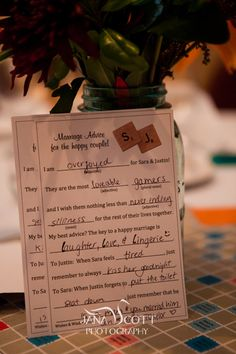Marriage Advice Mad Lib style for the bride & groom. Our wedding logo at the top :)