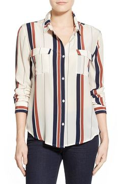 Sanctuary Stripe Silk Boyfriend Shirt available at #Nordstrom